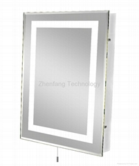 Illuminated bath mirror with picture frame perimeter light band