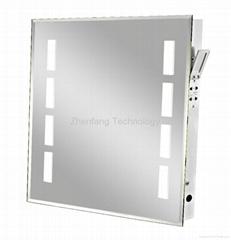 Backlit mirror with four small rectangular light windows at each side
