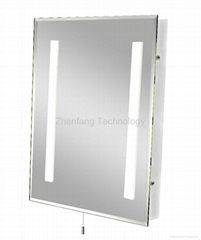 IP44 Rated bathroom mirror with one rectangular light strip at each side