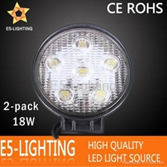 Round 18W LED Work Light for Truck ATV SUV JEEP Boat Offroad Tractor, Cool White