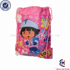 Dora printed kids satin drawstring bags