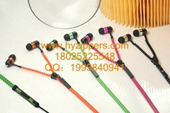 高品质荧光拉链耳机