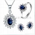 易燃火山饰品925纯银天然蓝宝石套装 1