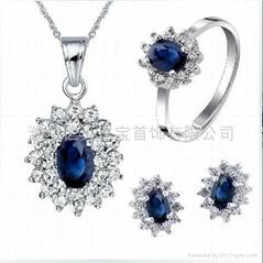 易燃火山饰品925纯银天然蓝宝石套装