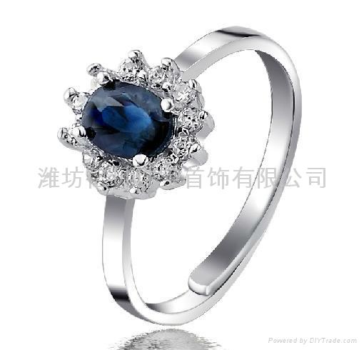 易燃火山饰品925纯银天然蓝宝石套装 2