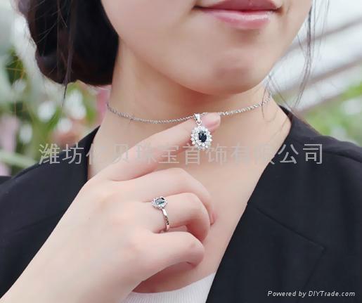 易燃火山饰品925纯银天然蓝宝石套装 5