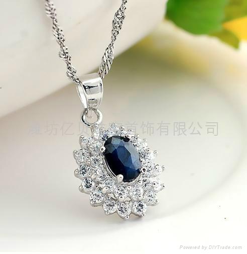 易燃火山饰品925纯银天然蓝宝石套装 3