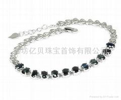 925银天然蓝宝石手链