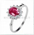 925银镶天然红宝石戒指