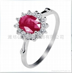 925銀鑲天然紅寶石戒指