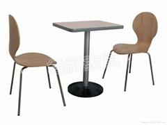 快餐桌曲木椅