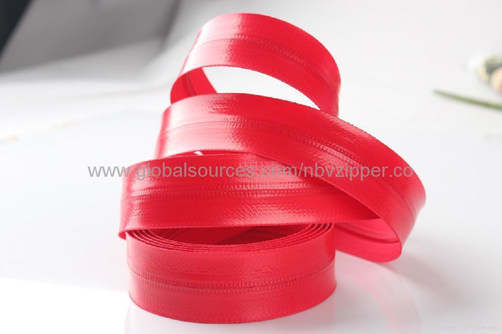 5# Black Waterproof Import Zipper, Shiny Finish  2