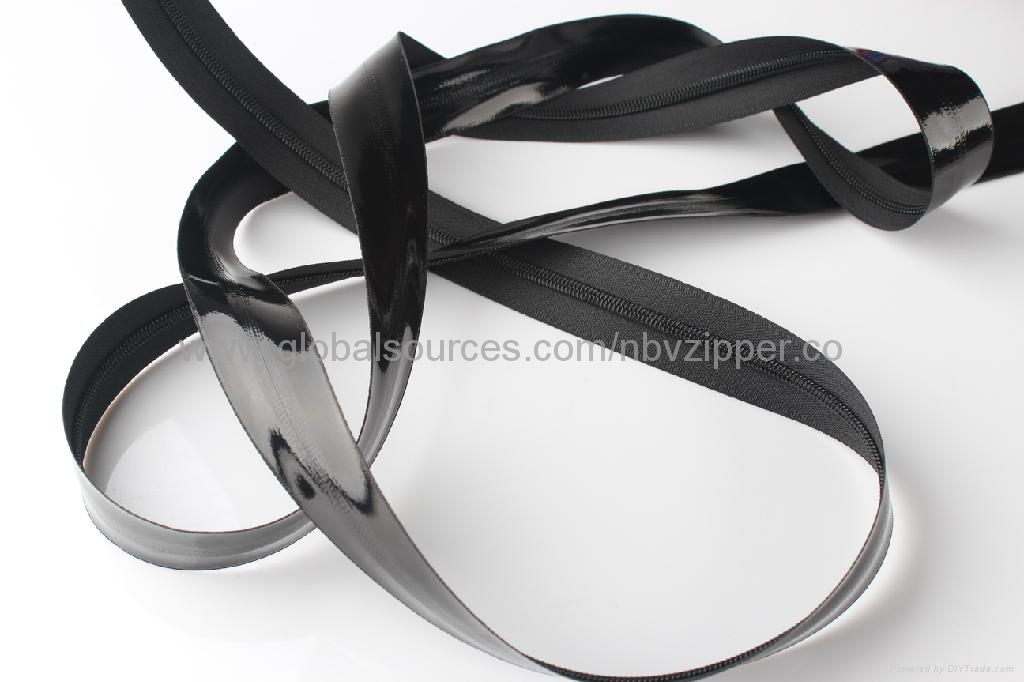 5# Black Waterproof Import Zipper, Shiny Finish  4