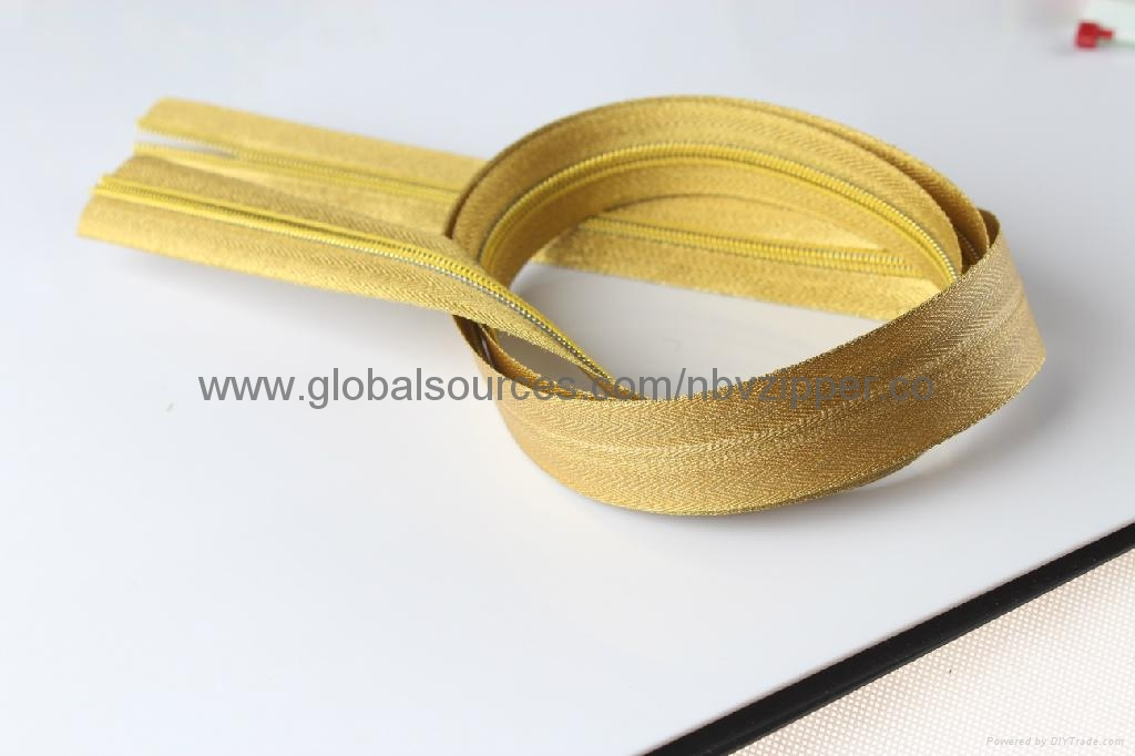 5# Gold Cloth Waterproof Zipper, Customized Colors are Accepted  1