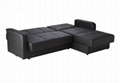 Black Faux Leather Corner Sofa Bed Chaise with Storage Space 1