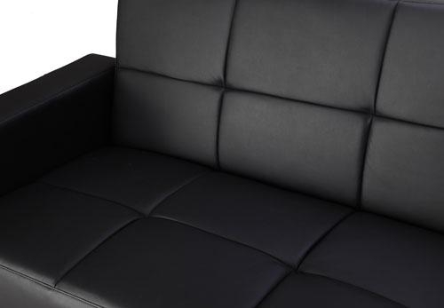 Black Faux Leather Corner Sofa Bed Chaise with Storage Space 3