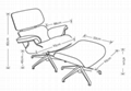 LEATHER CHARLES EAMES STYLE LOUNGE CHAIR AND OTTOMAN 5