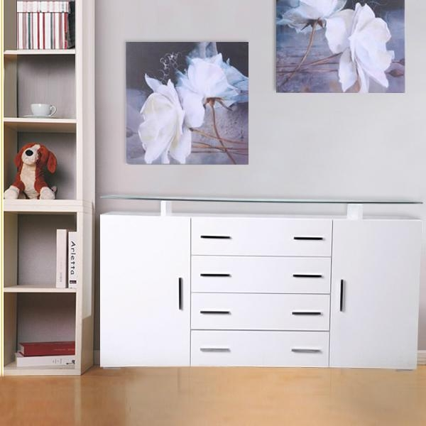 BN WHITE HIGH GLOSS SIDEBOARD CUPBOARD 4 DRAWERS 2 DOORS CABINET GLASS TABLE TOP 5