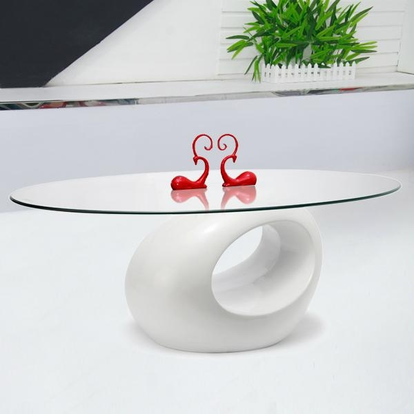 TEMPERED GLASS TABLE COFFEE TEA SIDE END OVAL RING BASE HIGH GLOSS WHITE CLEAR 1