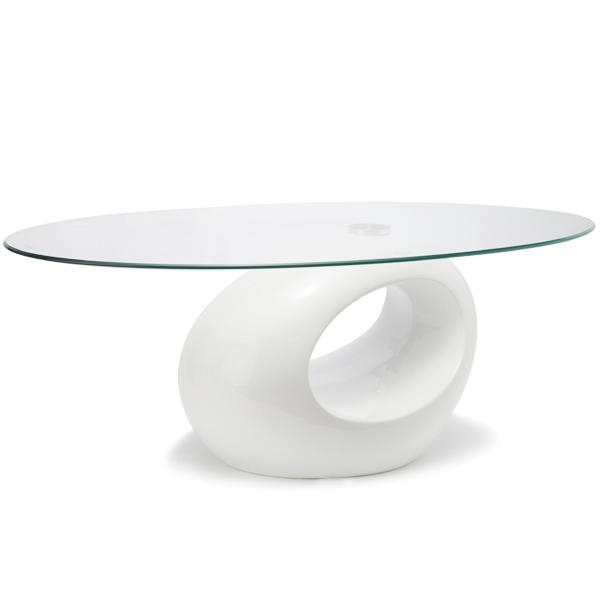 Tim Clear Glass Coffee Table With High Gloss White Base: TEMPERED GLASS TABLE COFFEE TEA SIDE END OVAL RING BASE