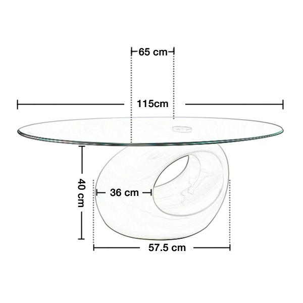 TEMPERED GLASS TABLE COFFEE TEA SIDE END OVAL RING BASE HIGH GLOSS WHITE CLEAR 5