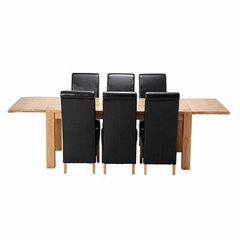 EXTENDING SOLID OAK DINING TABLE & 6 BLACK FAUX LEATHER CHAIRS SET DINING ROOM