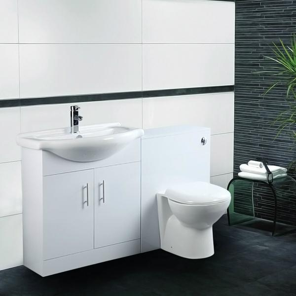 Bathroom Vanity Unit Back To Wall Toilet Suite High Gloss