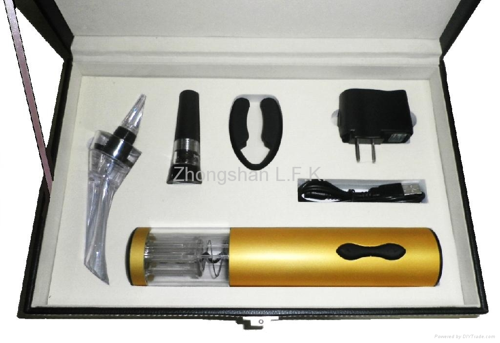 Wine tool set with electric wine corkscrew and wine pourer 1