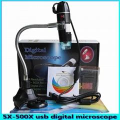 5X-500X handheld adjustable digital zoom microscope 500X with measuring microsco