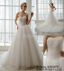 tulle and beading wedding dress 2014