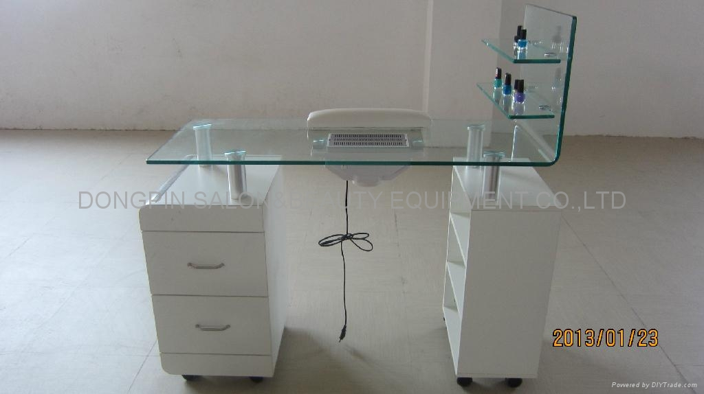 Bent Tempered Glass Top Manicure Table Nail With FanCERoHS DP 3482 DongPin China