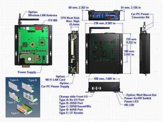 Fanless CarPC Case Car PC Enclosure IPC Case Mini-itx Case 5