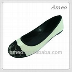 Beautiful flat ballerina shoes with lace toe cap for women