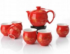 Classical Chinese Peony Ceramic Tea Set Red