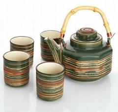 Bamboo Handle Traditional Tea Set