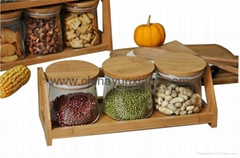 3-piece Glass food storage jars with wooden lid and rack,