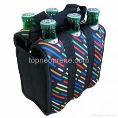 neoprene 6 pack beer bottle cooler tote bag
