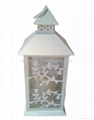 Flameless Metal LED Candle Lantern Carved Leaves 2