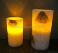 Birch Carved Wax LED Candle