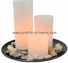 3pcs pack white pillar  flameless wax