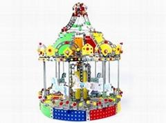 DIY 3D metal carousel model puzzle blocks intelligent jigsaw toys