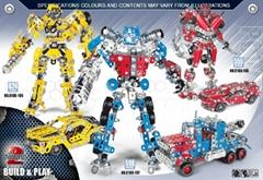 DIY self assemble 3D metal transformer robot model puzzle blocks