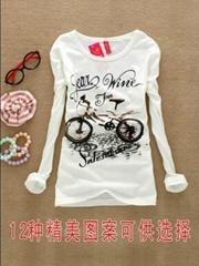 韩版纯棉圆领修身长袖女装T恤
