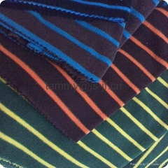 colorful stripe knitting polar fleece with anti-pilling