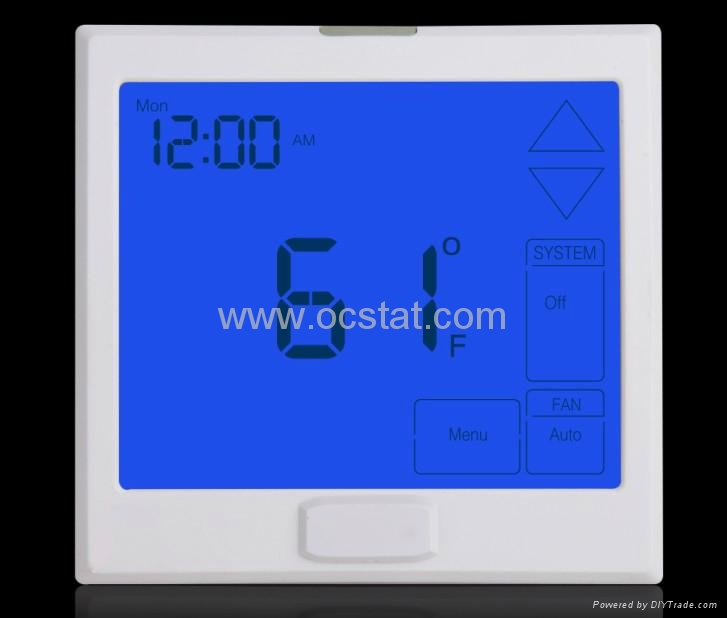 Touchscreen Large Display Thermostat TOC905A on central heating cooling controls