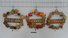 Shaped Metal/Glass Hanging Welcome Signs
