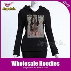 Black Cotton Women Fleece Hoodie