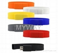 White Silicone bracelet usb stick with custom logo 2