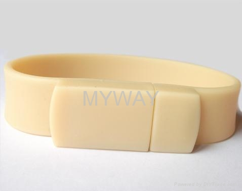 White Silicone bracelet usb stick with custom logo 3