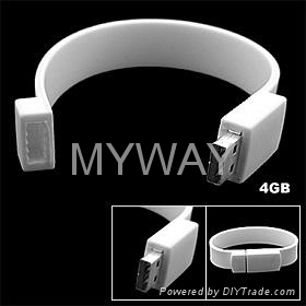 White Silicone bracelet usb stick with custom logo 5
